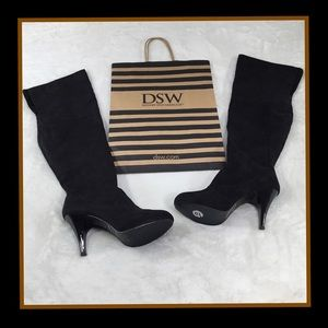 DOLLHOUSE OVER THE KNEE BLACK BOOTS 10